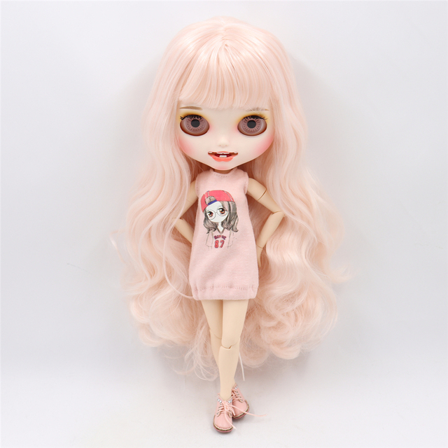 Blyth nude doll Carved lips Open mouth Matte customized face Pale pink hair 1/6 Joint body ICY bjd DIY toy girl gift