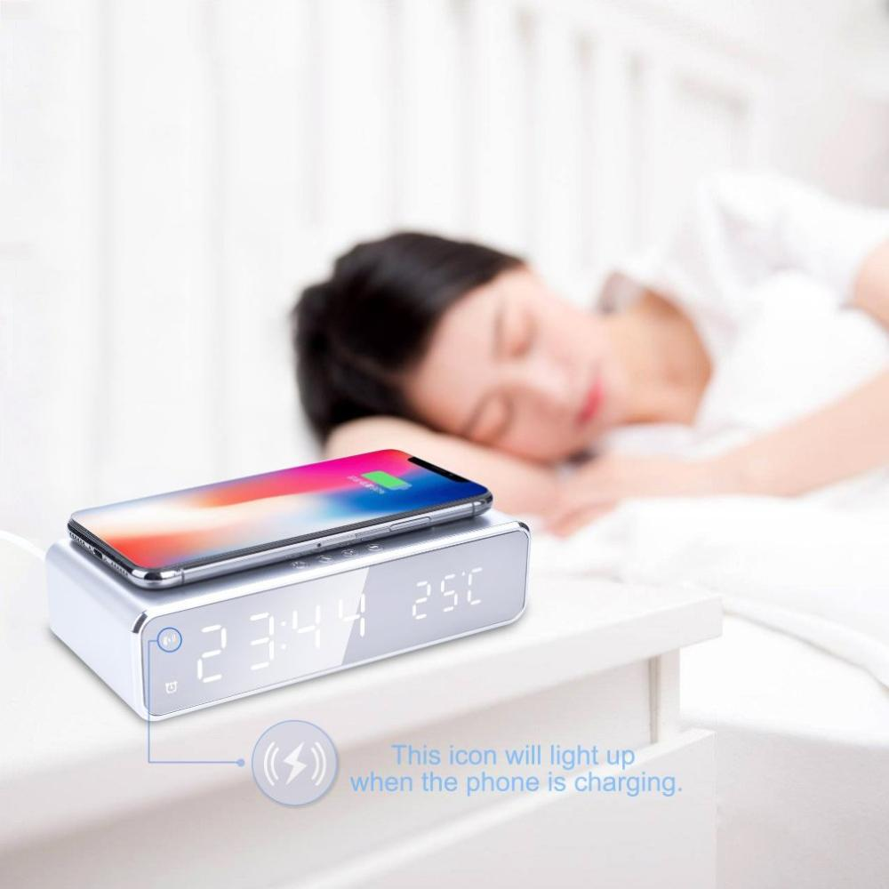 Electric Led Alarm Clock With Telephone Wireless Charger Desktop Digital Thermometer Clock Hd Mirror Clock With Date