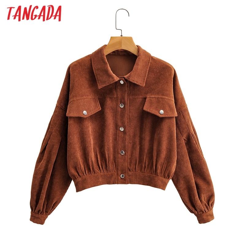Tangada-Chaqueta bomber corta de pana para mujer, botones de manga larga, chaquetas extra grandes, prendas de vestir, 1F173