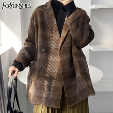 Woolen Coat Blazer Plaid England-Style Doublebreasted Collar Female Warm Winter Retro
