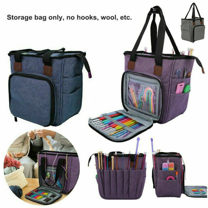 Portable Crochet Hooks Yarn Storage Tote Bag Knitting Tool Accessory Carry Organizer Holder Case