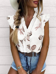 2019 Summer Women Elegant Vacation Leisure Top Female Holiday Girls Sweet Shirt Pineapple Print Flutter Sleeve Casual Blouse 3