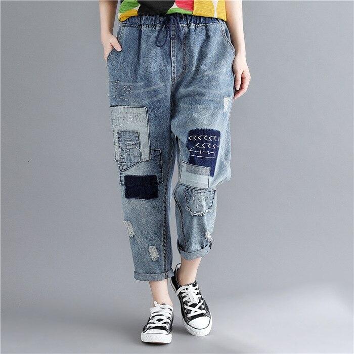 2018 littérature et Art grande taille robe lavage Applique jean avec trous Capri pantalons décontractés ample If7184