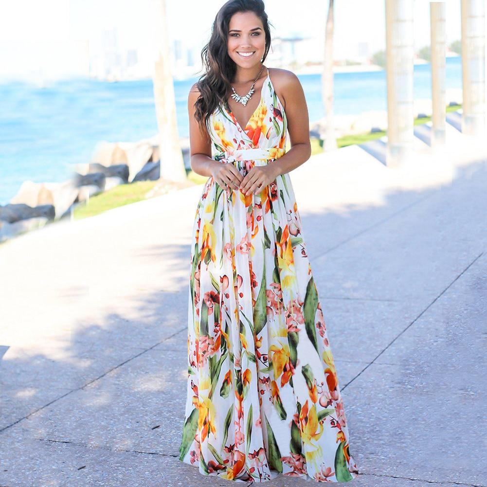 Primavera estate Sexy Casual donna abito lungo vita alta scollo a v aperto indietro senza maniche vacanza spiaggia Sling stampa abito abiti Halter