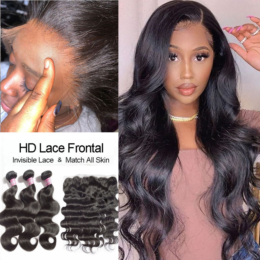 Malaysian Body Wave Bundles With HD Frontal Human Hair Bundles With Lace Frontal Closure Real HD Lace Frontal With Bundles