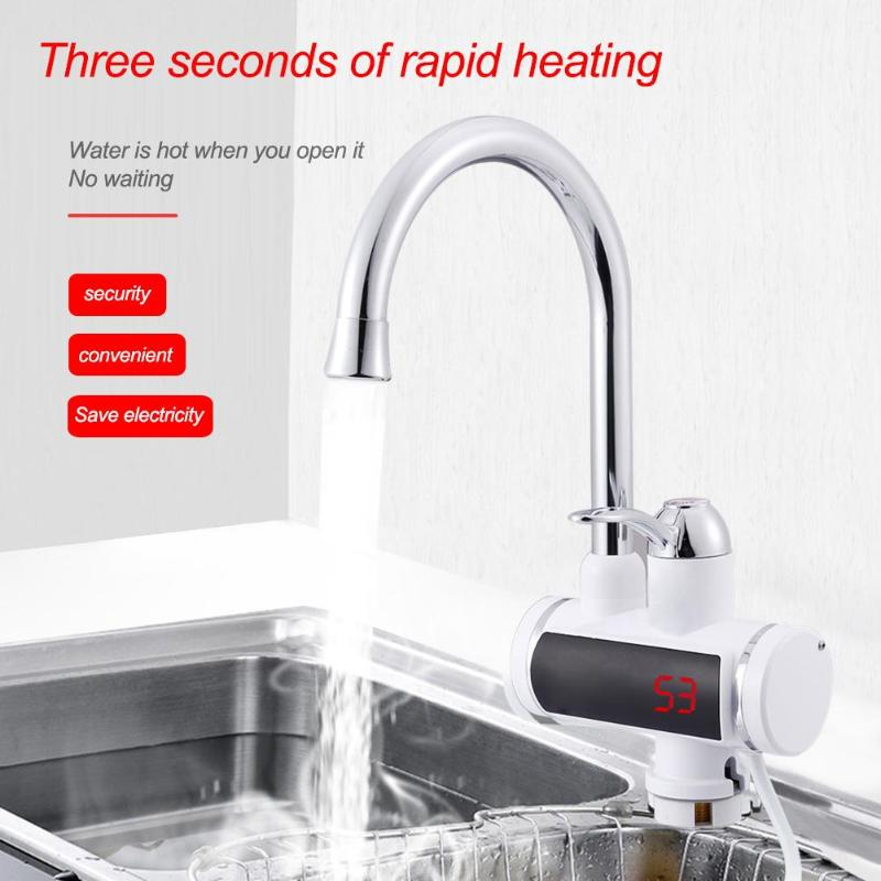 220V Electric Kitchen Water Heater Tap Instant Hot Water Faucet Heater Cold Heating Faucet Tankless Instantaneous Water Heater