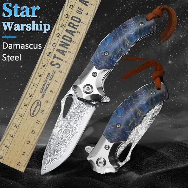 Damascus VG10 steel pocket knife hunting pocket folding knife outdoor camping survival survival tool EDC portable knife 2