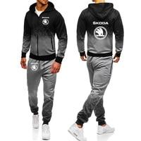 Hoodies Men Skoda Car Logo Print Casual Harajuku Gradient color Hooded Fleece zipper Jacket Sweatshirt Sweatpants Suit 2pcs