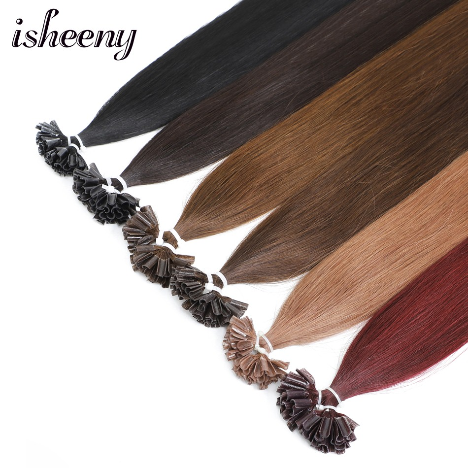 "Isheeny 12"" 14"" 18"" 20"" 22"" Fusion Hair Extensions 0.5g Remy Nail/U Tip Straight Keratin Pre-Bonding Human Hair On Capsuel"