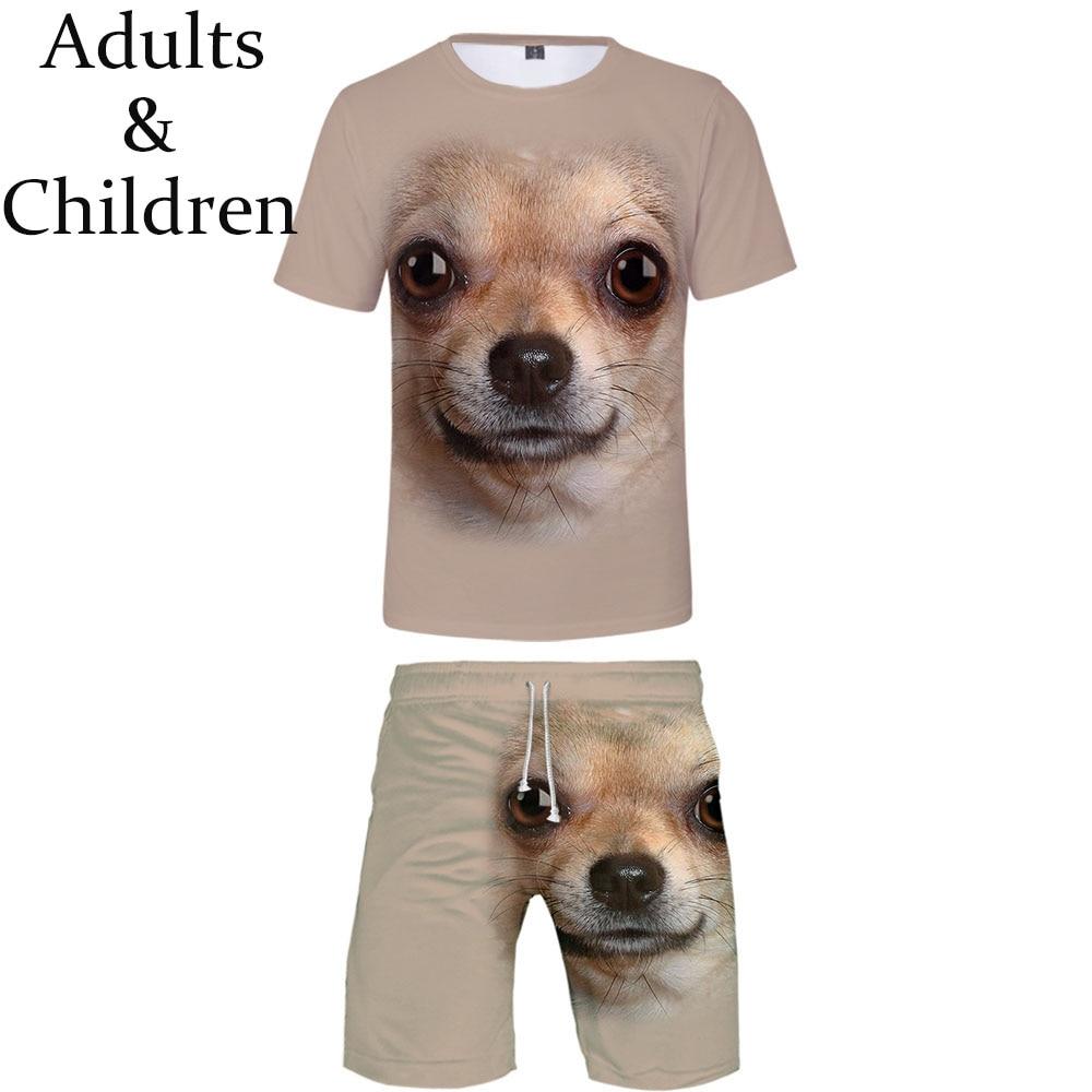 Popular Hot New Casual Suitable Animal Dog Hip Hop T-shirt+Beach Shorts Men Women Summer 3D Print Boys Girls Two-piece Cool Sets