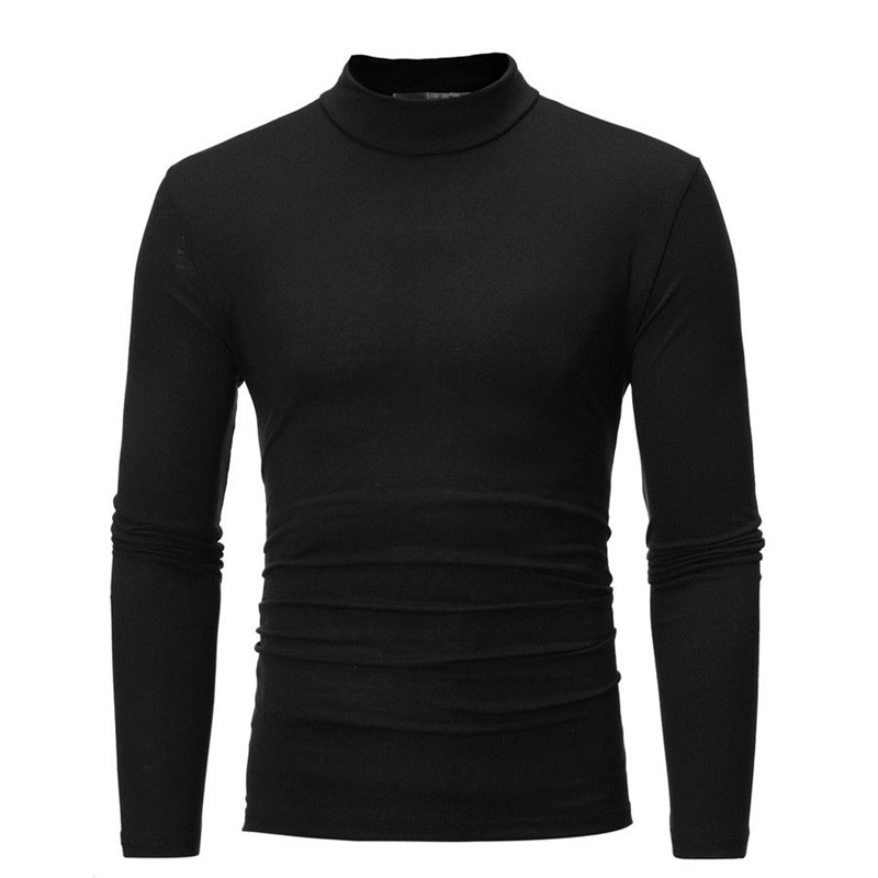 Brand New Gothic Men Turtelneck Sweater Pullover Long Sleeve Stretch Slim Basic Sweater Turtleneck Male Blouse Spring Clothes 4