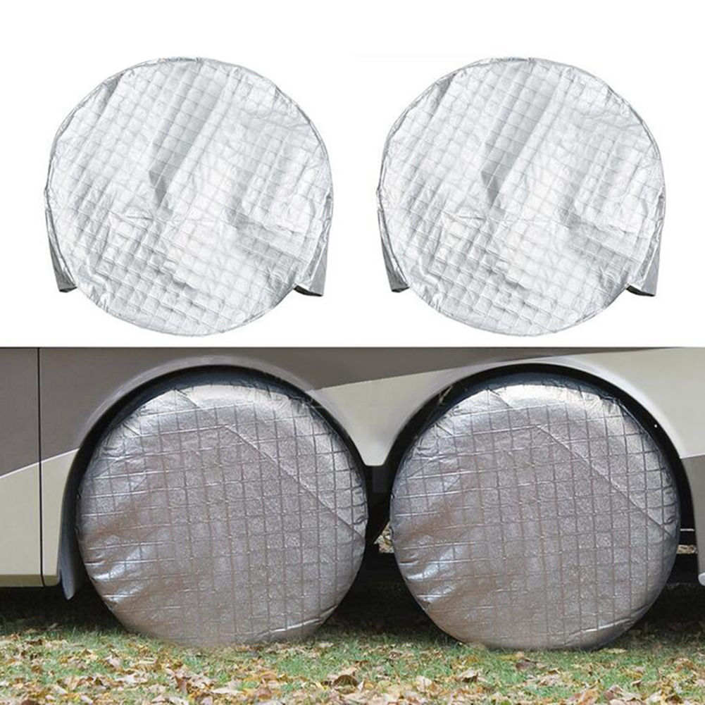 Fits 27-29 Inch Tire Diameter L,Waterproof Aluminum Film Tire Sun Protectors for Rv Travel Trailer Camper Vinyl Wheel Tire Covers Set of 4 Black Aluminum Film Tire Sun Protectors Tire Covers