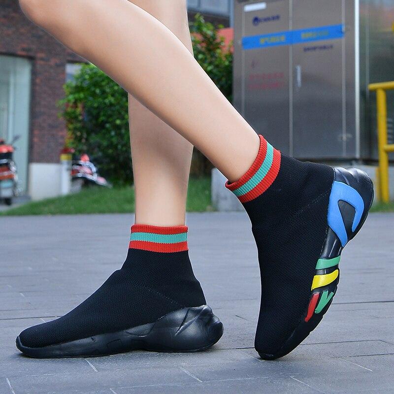 2019 кроссовки, Женские Дышащие ботильоны, носки, обувь, женская обувь для бега, эластичная обувь на танкетке, обувь на платформе, zapatillas mujer