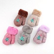Зимние Детские перчатки с рисунком рождественской елки милые детские теплые вязаные перчатки шерстяные плотные теплые варежки для малышей