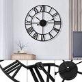 Большие настенные часы 40 см для уличного сада, скандинавские металлические настенные часы с римскими цифрами, ретро железные круглые часы ч...
