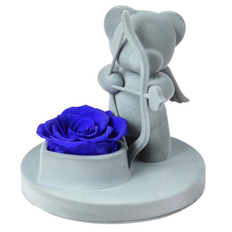 6 стилей,, свежие цветы красавицы и чудовища, красные вечные розы в стеклянном куполе, Рождественский подарок на день Святого Валентина, Прямая поставка - Цвет: blue rose bear