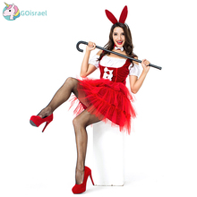 New Halloween Bar Women's Costume Red Bunny Cosplay Costumes Europe and America Girls Puff Ski Party Holidays