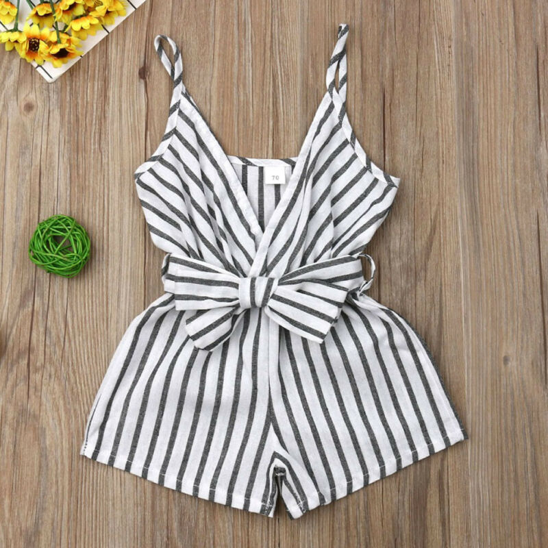 3pcs New Fashion Newborn Baby Girl Clothes Sleeveless Striped Bowknot Strap Romper Jumpsuit One-Piece Outfit Sunsuit Clothes