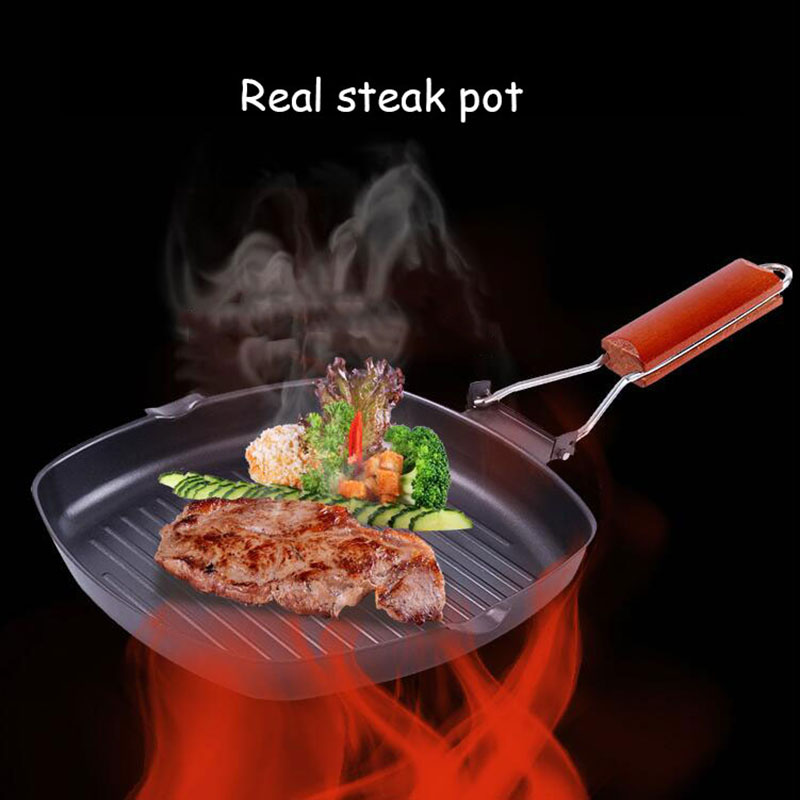 24cm Non-stick Steak Frying Pan Cast Iron Folding Portable Wooden Handle Kitchen Fry Cooking Grill Cookware Pans