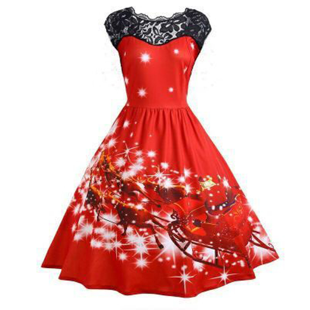 Fashion Sexy Women Dress Sleeveless Cartoon Printing Splicing Lace Cultivation Large Type Evening Party Dress