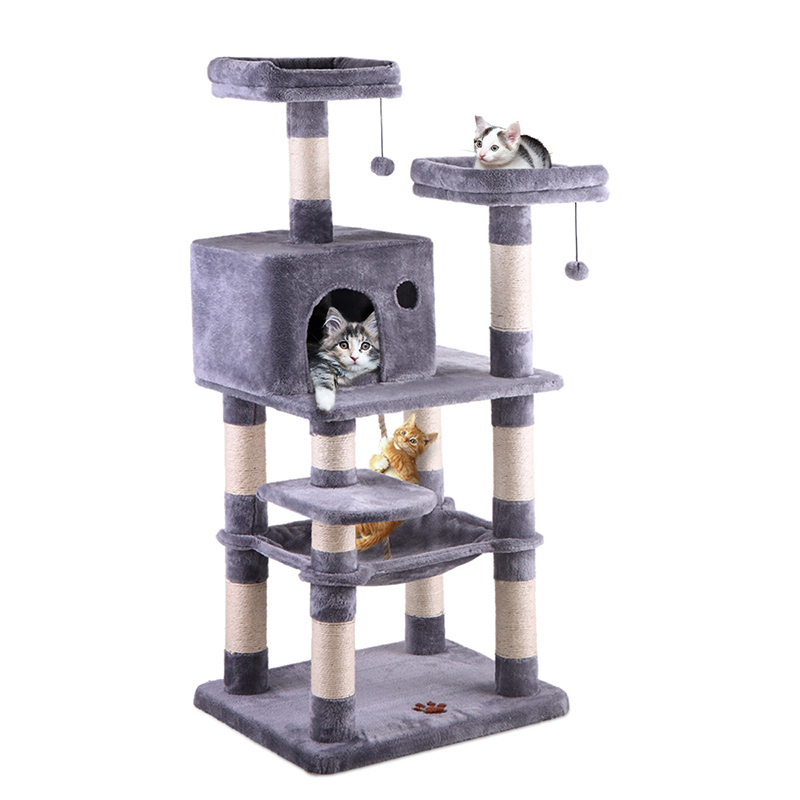 Cat Tree House Multi Level With Hanging Ball Animal Funny Sisal Covered Scratching Posts Protecting Furniture Pet House PT0158
