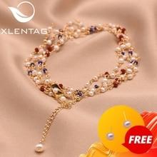Xlentag Bracelet en perles deau douce naturel pour femmes, bijou haut, cadeau de mariage, danniversaire, de luxe, Bracelet à breloques, GB0154