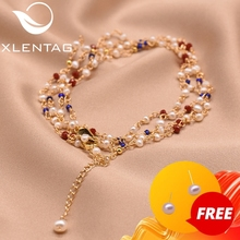 Xlentag Women Natural Freshwater Pearl Bracelet Wedding Birthday Party Gift Charm Bracelet Luxury Brand High Jewelry GB0154