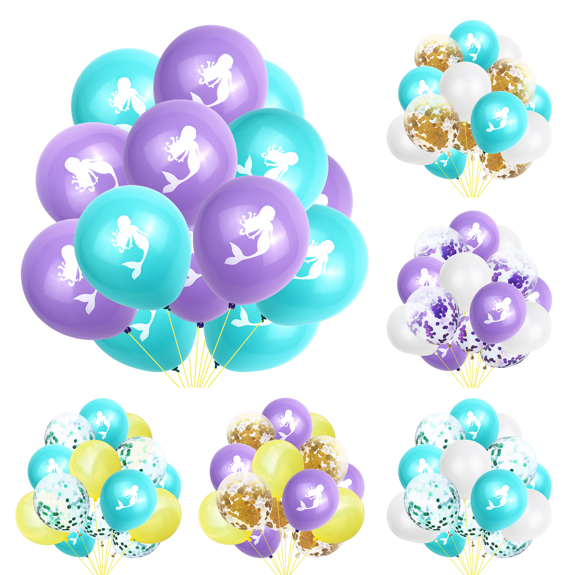 15pcs Little Mermaid Balloons Multicolor Confetti Balloon Wedding Ballons Birthday Party Decoration Baby Shower Supplies