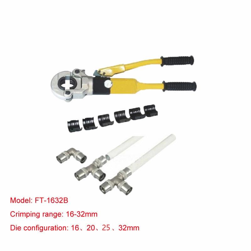 1db FT-1632B hidraulikus szerelőszerszám PEX csőszerelvényekhez PB cső Copper AL csatlakozási tartomány 16-32mm