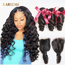 Karizma Bundles Hair-Weave Closure Human-Hair Loose Wave Middle-Part Non-Remy Brazilian