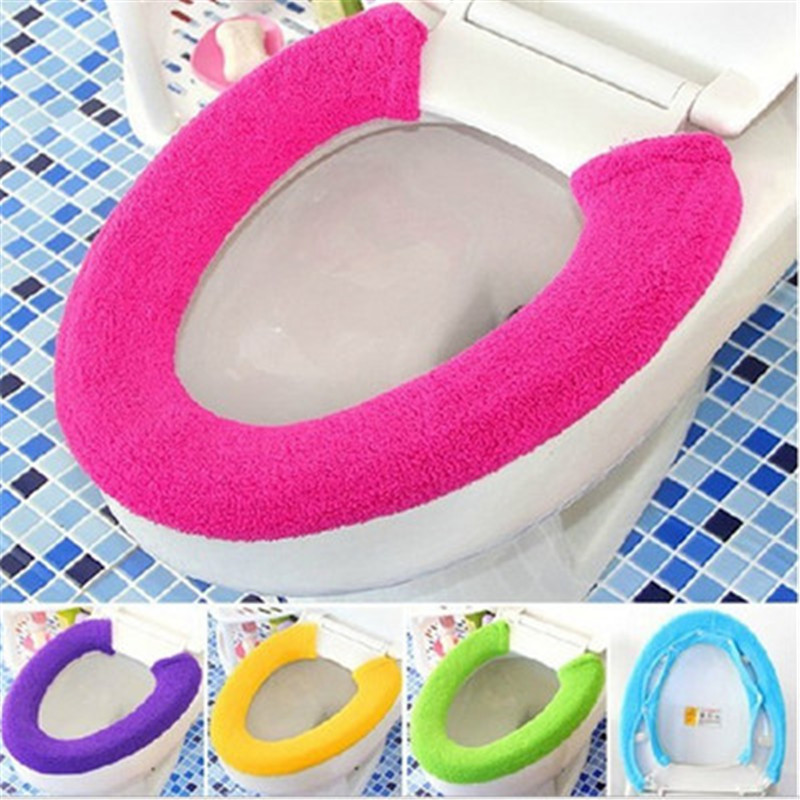 Warm Soft Toilet Cover Seat Lid Pad Bathroom Closestool Protector Washable Closestool Standard Bathroom Accessories