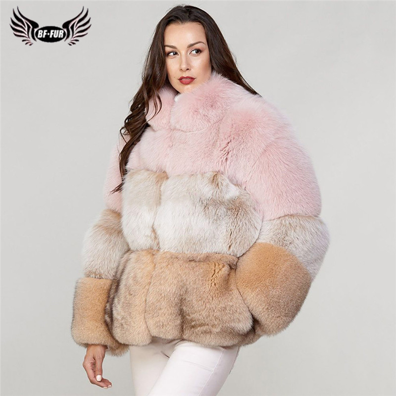 2019 Winter Fashion Genuine Fox Fur Coat For Women Color stitching Pelt Natural Blue Fox Fur Jacket Stand Collar Overcoat Woman
