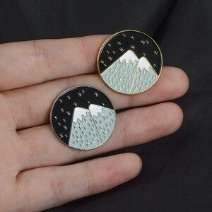 С изображением заснеженной горы эмаль на булавке изображения звездного неба луны и звезд значок нагрудный знак брошь джинсы рубашка сумка бижутерия из природных материалов подарок для малыша