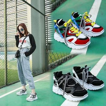 Yüksekliği artan ayakkabı kadın Sneakers tıknaz sepeti Femme Sneakers kadınlar yeni snickers platformu Sneakers Zapatos De Mujer 2020