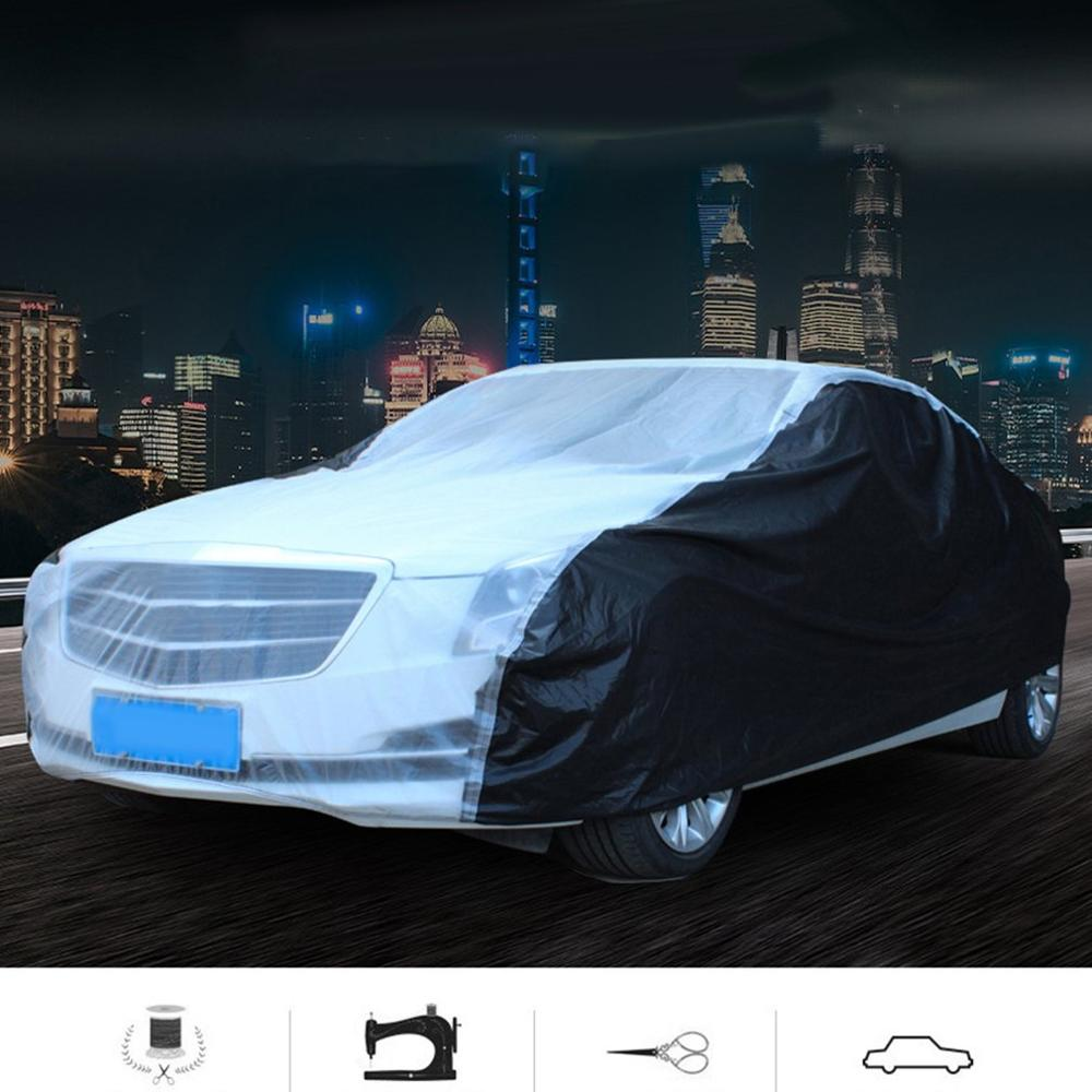 Cubierta de coche Universal para lluvia y protección solar a prueba de polvo con impermeable grueso para coche de PEVA S/M/L/ XL/2XL vehículo todoterreno