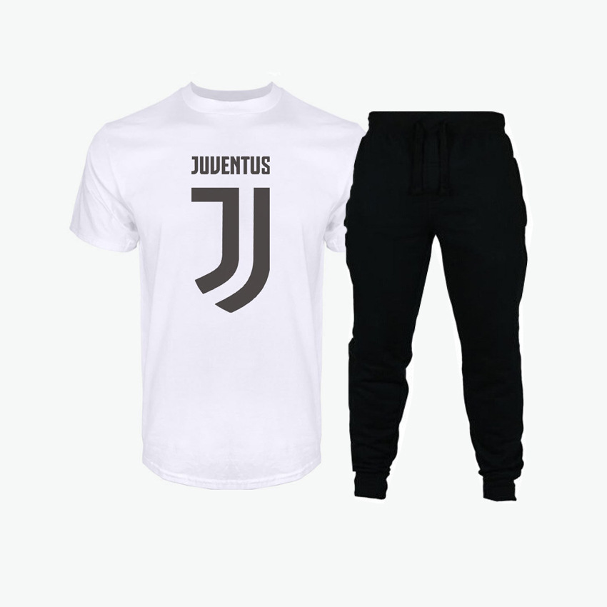 2019 New Style Men's Suit Trend Lettered Printed T-shirt Sports Set Trousers