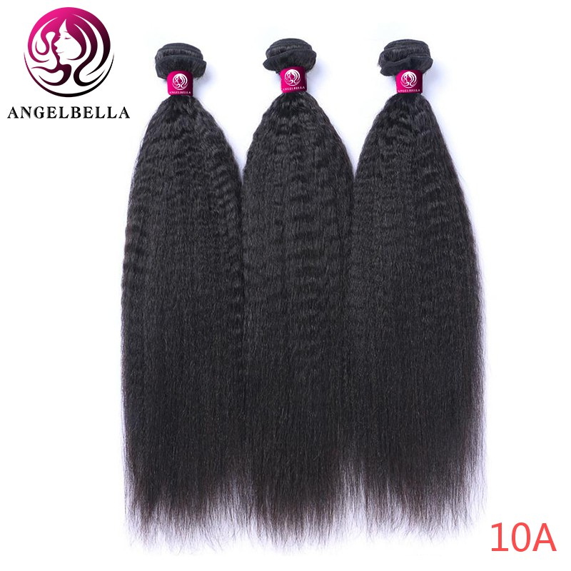 Angelbella 3/4 <font><b>Bundles</b></font> Brazilian Yaki Human Hair <font><b>22</b></font> 24 <font><b>inch</b></font> 1b# Kinky Straight Human Remy Hair Double Weft <font><b>Bundle</b></font> Weave image