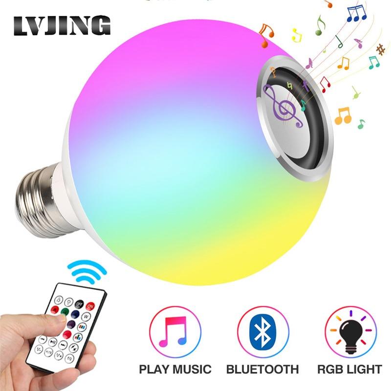 Inteligente e27 rgb branco bluetooth alto-falante lâmpada led música luz jogando pode ser escurecido sem fio conduziu a lâmpada com 24 teclas de controle remoto