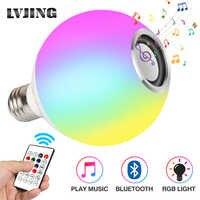 Smart E27 RGB blanco Bluetooth altavoz LED Bombilla de luz de reproducción de música regulable lámpara Led inalámbrica con 24 teclas de Control remoto