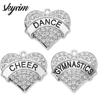 Skyrim Clean Crystal Heart Charms Cheer/Dance/Gymnastics Pendants For DIY Jewelry Necklace/Bracelet Making Women/Girl Gift image