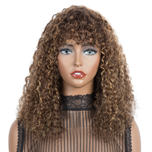 Hair Wigs Curl Bangs Human-Hair-Wigs Short Kinky Women 100%Brazilian-Curl for with Purple