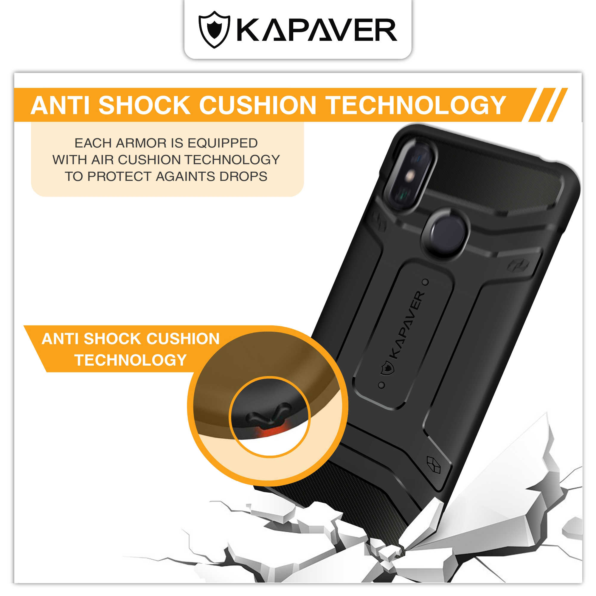 Kapaver original oficial silicone volta caso capa para xiao mi max 3 gota testado à prova de choque armadura fibra carbono preto casos