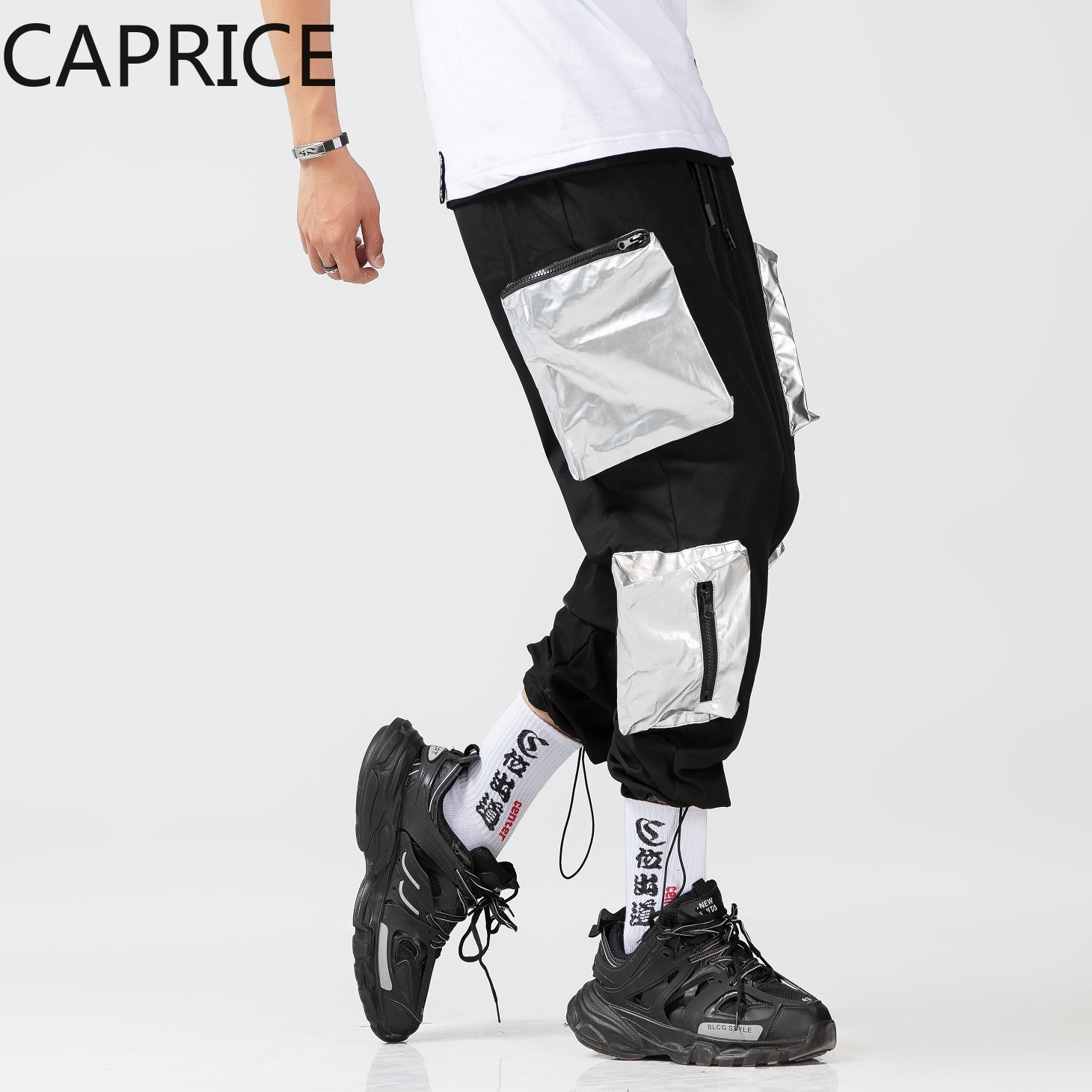Silver pocket Men Streetwear Cargo Pants  1