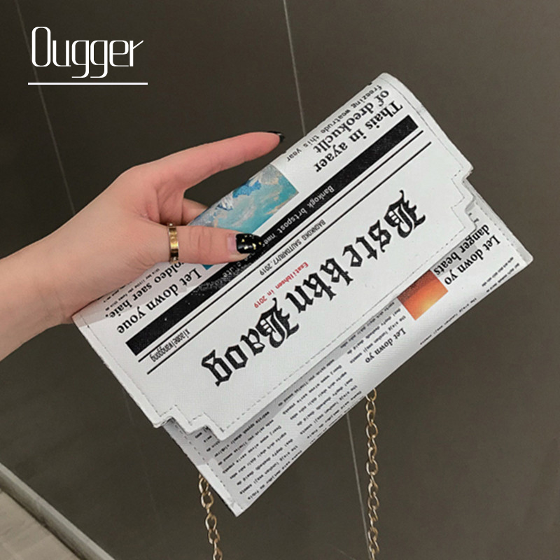 Ougger Envelope Bag Women Personality Newspaper Clutch Bags Ladies Joker Shoulder Messenger Bag Small Chain Evening Bags