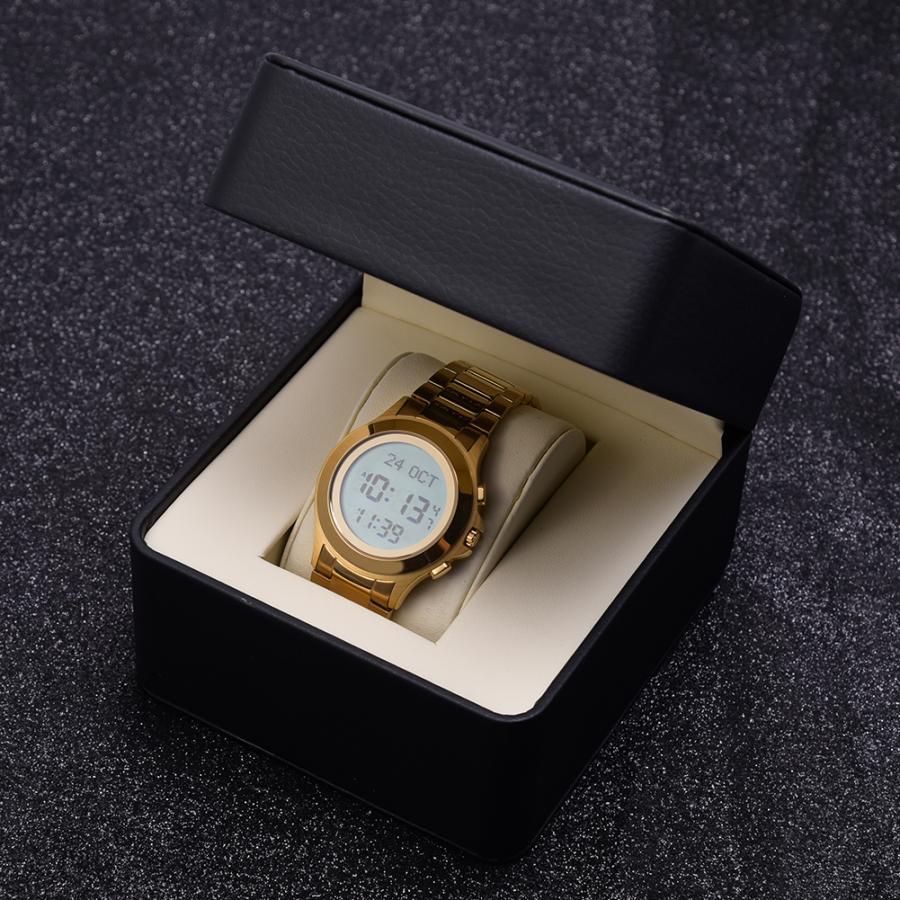Muslim Watch Steel Waterproof Worship Prayer Wristwatch with Blue EL Backlight Religious Supplies Muslim Watch
