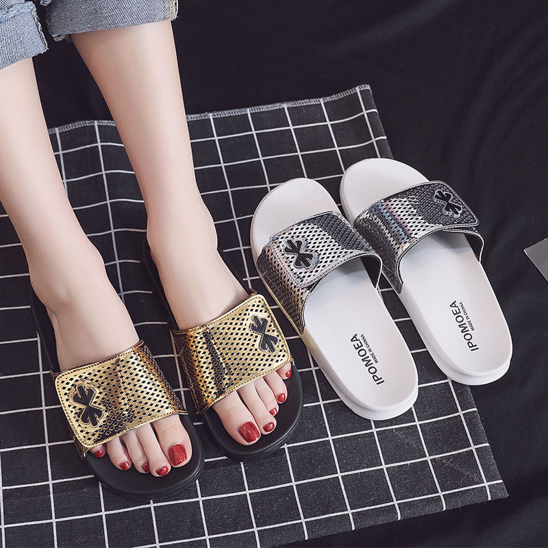 Fashion Women Summer Slippers Slide Sandals Beach Slides Flip Flops Mirror Laser Thick Soled Women Men Couple Boys Summer Shoes