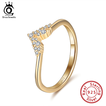 ORSA JEWELS Latest 100% Real 925 Sterling Silver Ring Gold Color Finger Stackable Rings Romantic Fine Party Gift Jewelry SR214