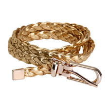 Women Simple Braided PU Leather Narrow Thin Buckle Strap Waist Belt Waistband Colors: Gold(China)