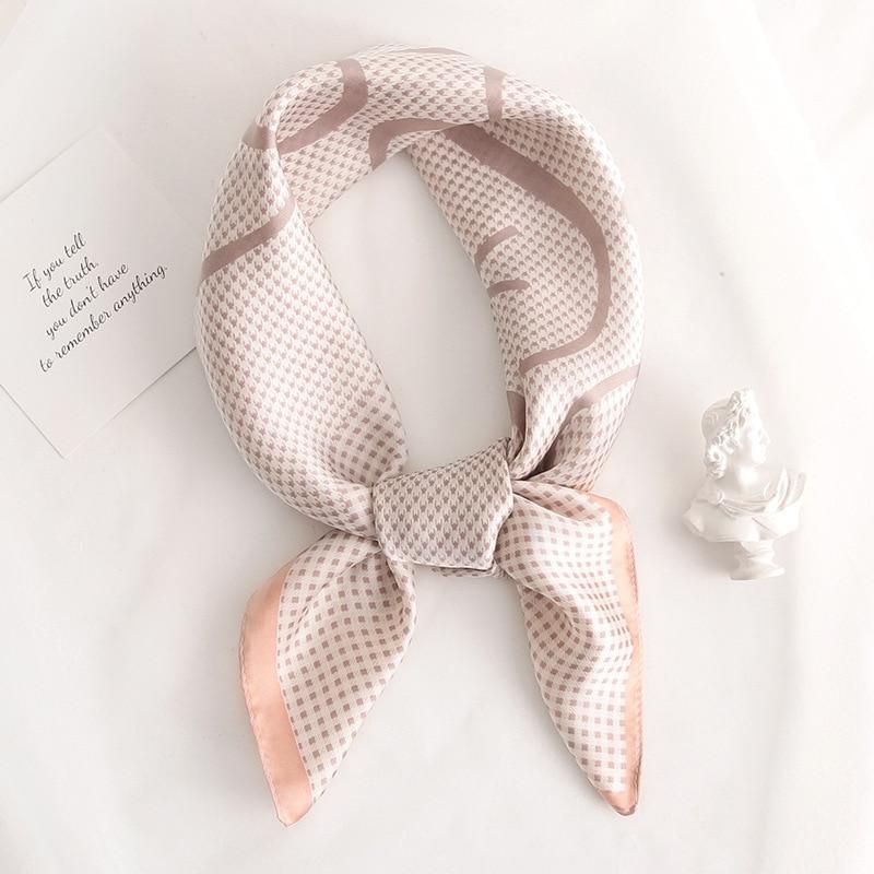 Plaid Women Neck Scarf Square Foulard Hair Headband Bag Tie Accessories Lady Silk Shawls Print Neckerchief Bandana Scarves