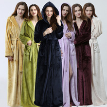 Women Men Winter Plus Size Flannel Robe Extra Long Hooded Warm Bathrobe Lovers Thick Kimono Bath Robe Male Dressing Gown Robes cheap RUILINGSHA Coral Fleece Solid Full Polyester Floor-Length 1706 flannel robe